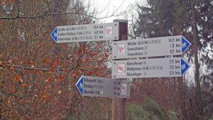 Wegweiser Kelten-Römer-Pfad und Lahnwanderweg